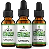 (1,000,000mg) 3 Pack Organic Hemp Oil Extract - Organically Grown in USA - Co2 Extraction - Hemp Extract Tincture Drops - Veg