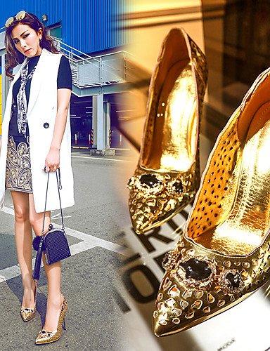 BGYHU GGX Microfaser Damen-Schuhe Stiletto Heel Heels Gladiator spitz Toe Toe Toe Heels Party & Abend Kleid Gold f8f14b