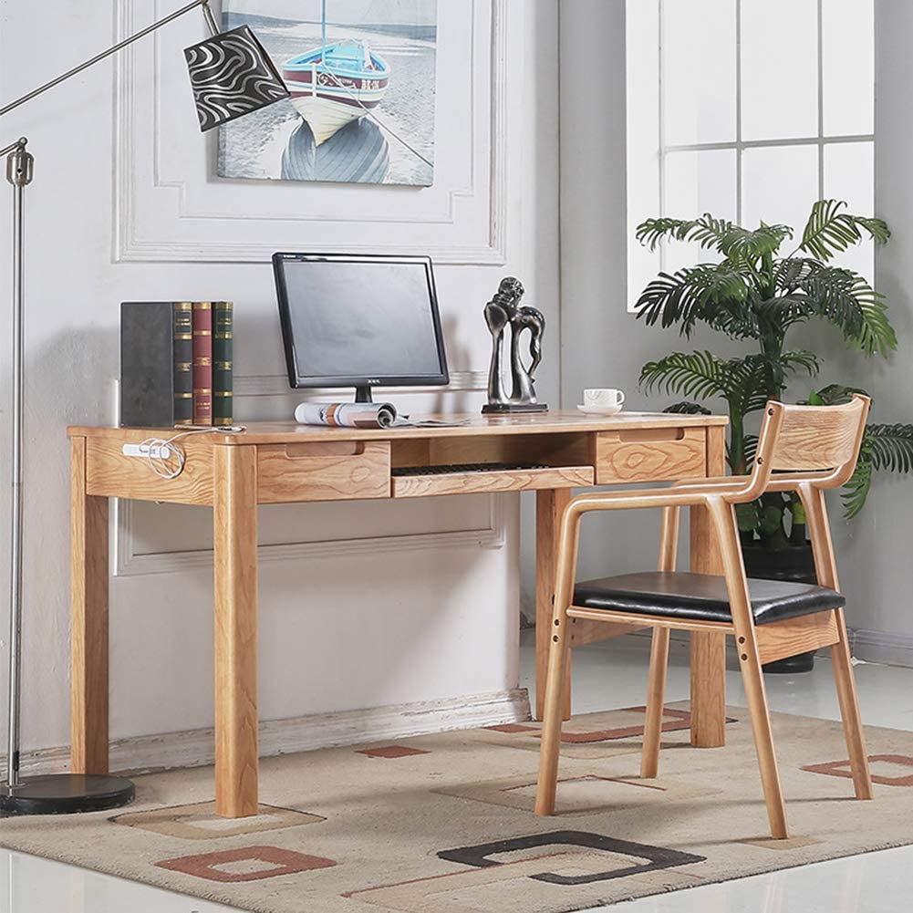 Solid Wood Computer Desk with Chair, Modern Simplicity Table Home Japanese Writing Desk, Solid Wood Handle Drawer and Keyboard Tray