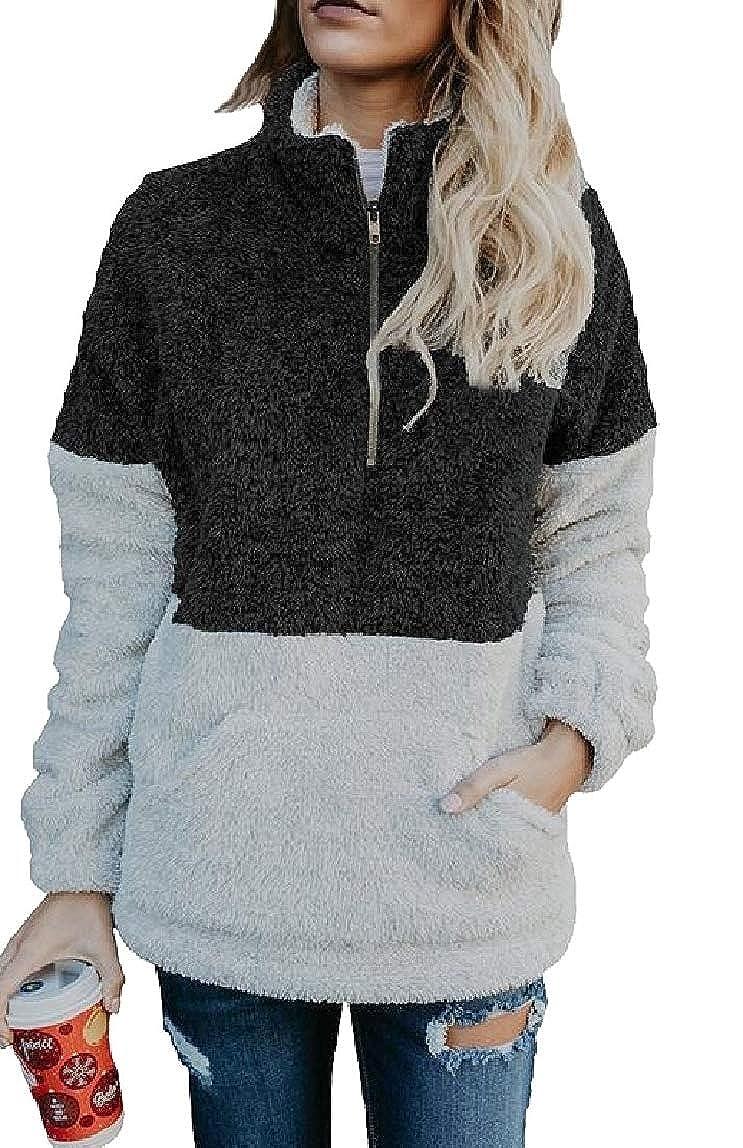 mydeshop Womens Winth Fleece Pocket Sweatshirt Oversized Half Zip Pullover Colorblock