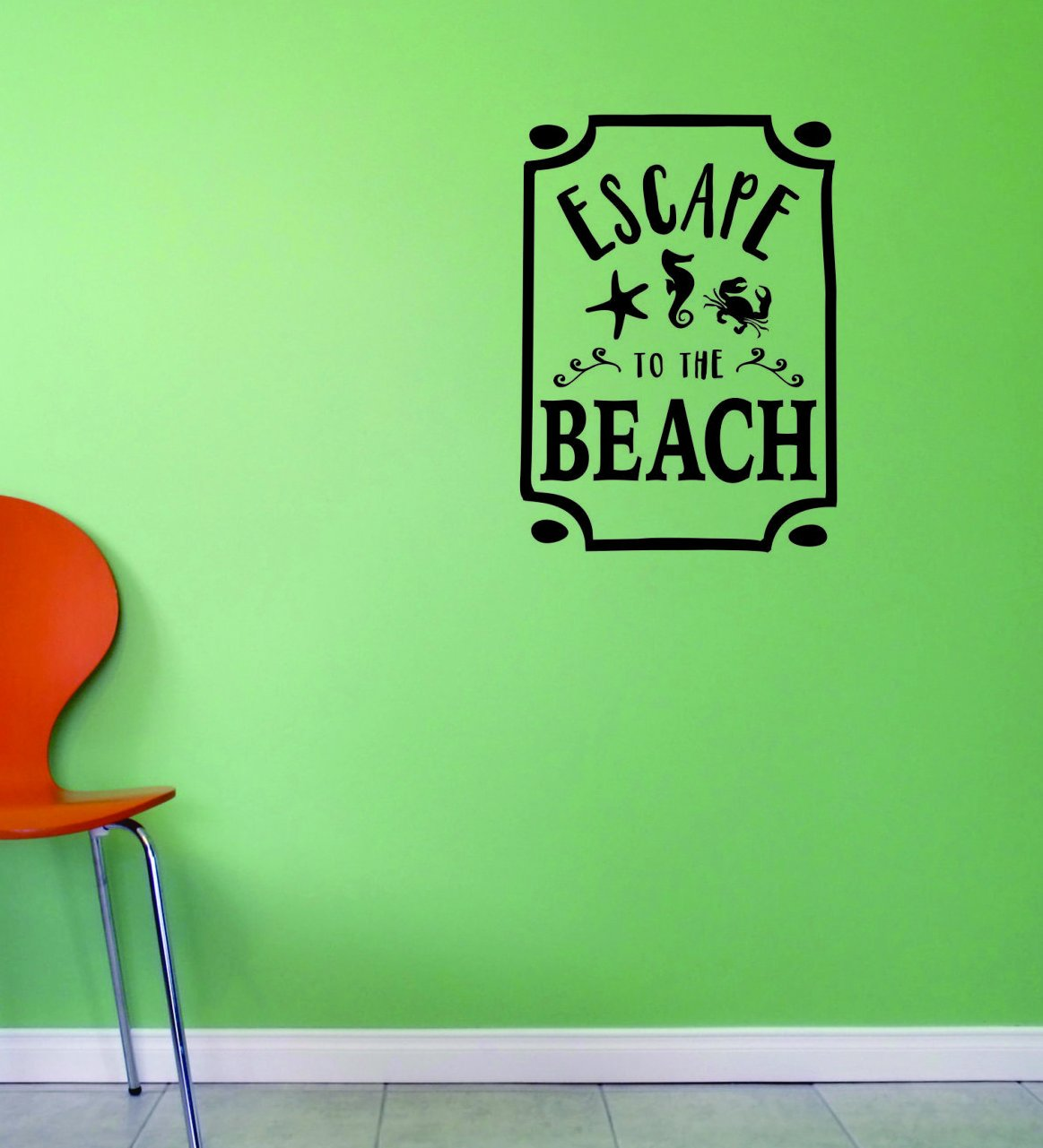 Black 16 x 16, Design with Vinyl JER 2003 2 Hot New Decals Escape to The Beach Wall Art Size x 16 Inches Color