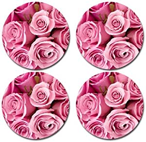 Pink Roses Flowers Rubber Round Coaster set (4 pack) Great Gift Idea