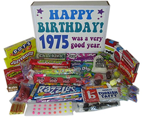 Woodstock Candy 1975 43rd Birthday Gift Box Retro Nostalgic Candy from Childhood for Men and Women - 43 Years Old