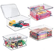 """mDesign Plastic Stacking Organizer Toy Box with Attached Lid for Storage of Action Figures, Crayons, Markers, Building Blocks, Puzzles, Craft or School Supplies - 3"""" High, 4 Pack - Clear"""