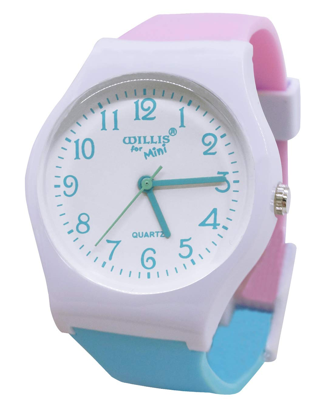 Lovely Colour Jelly Quartz Watches for Child Kids Girl Boys Student Casual Sport Watch Waterproof Wrist Watch with Environmental Friendly PVC Watchband Pink & Blue