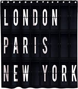 Final Friday Funny Shower Curtains New York London Paris Pattern Theme Cloth Fabric Bathroom Decor Sets with Hooks Waterproof Washable 70 x 70 inches Black and White
