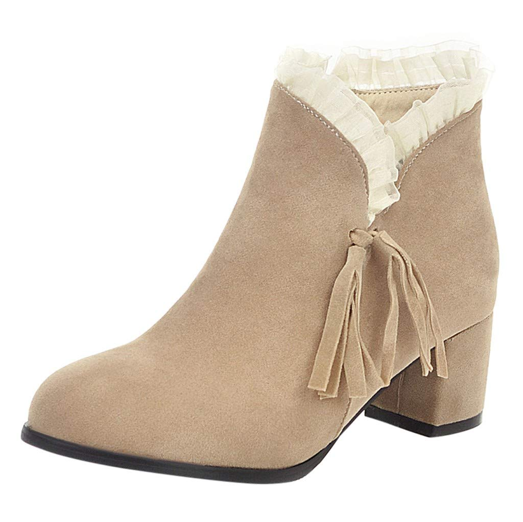 Onefa 2019 Womens Ankle Boots Square High Heels Side Zip Tassel Lace Short Booties Round Toe Shoes by Onefa