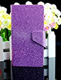 Bling Glittery Powdery Style PU Leather Flip Stand With Card Slot Wallet Case Cover For Vodafone Smart 4 Mini (Purple)