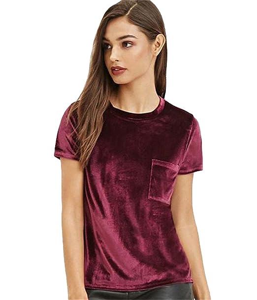 Rojo Dabag Camisas Manga Corta Camisetas De Blusas Mujer Deporte iPwOkZTXu