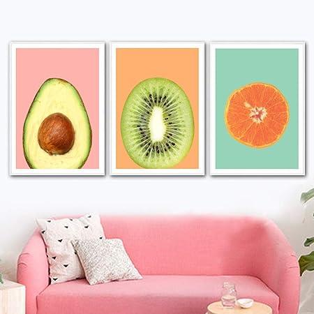 adgkitb canvas Kiwi Aguacate Naranja Fruta Pared Arte Lienzo ...