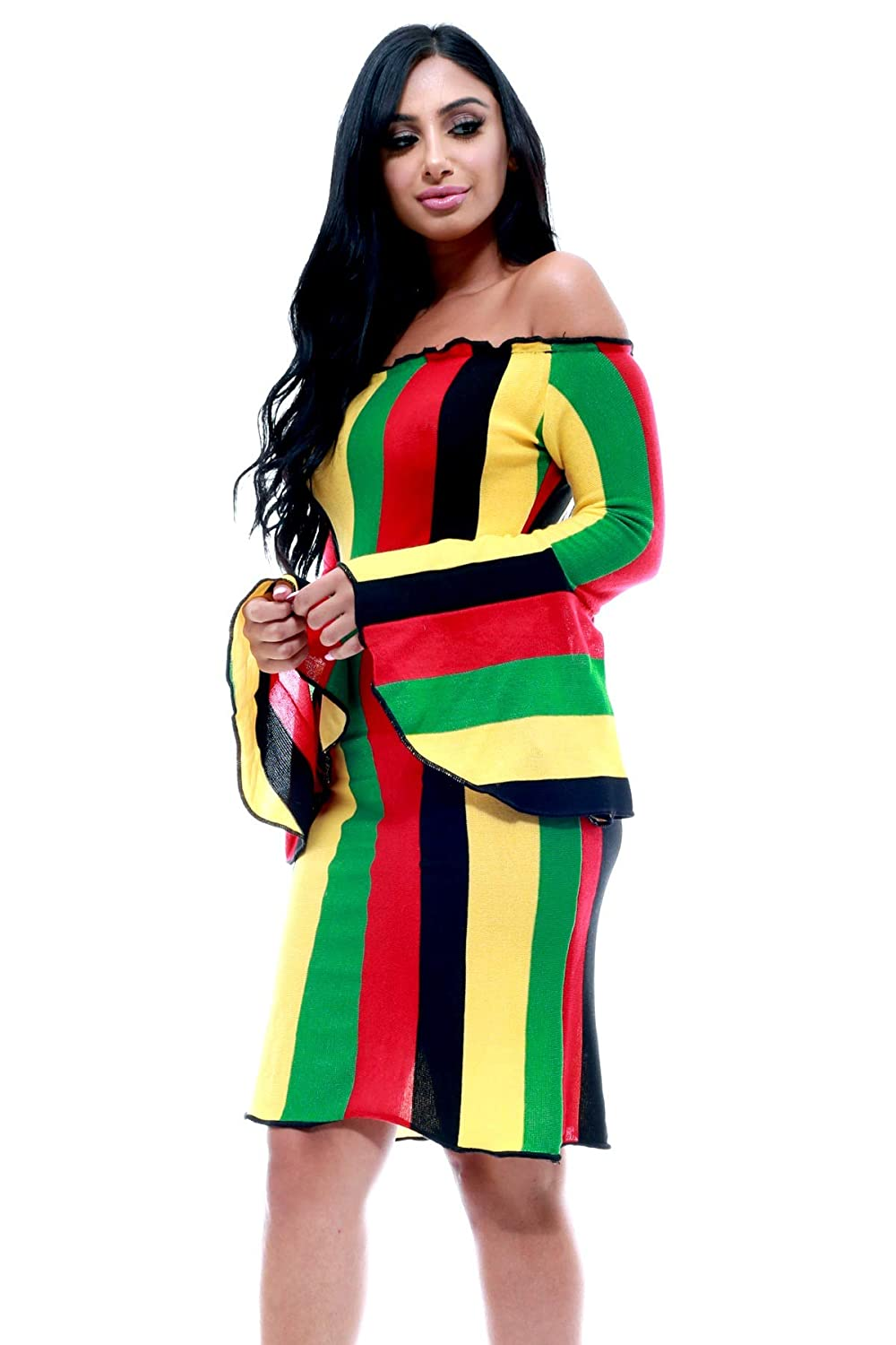 f4339229677 Fifth Degree Reggae Jamaican Off Shoulder Bell Sleeve Club Rasta Dress (S)  at Amazon Women s Clothing store