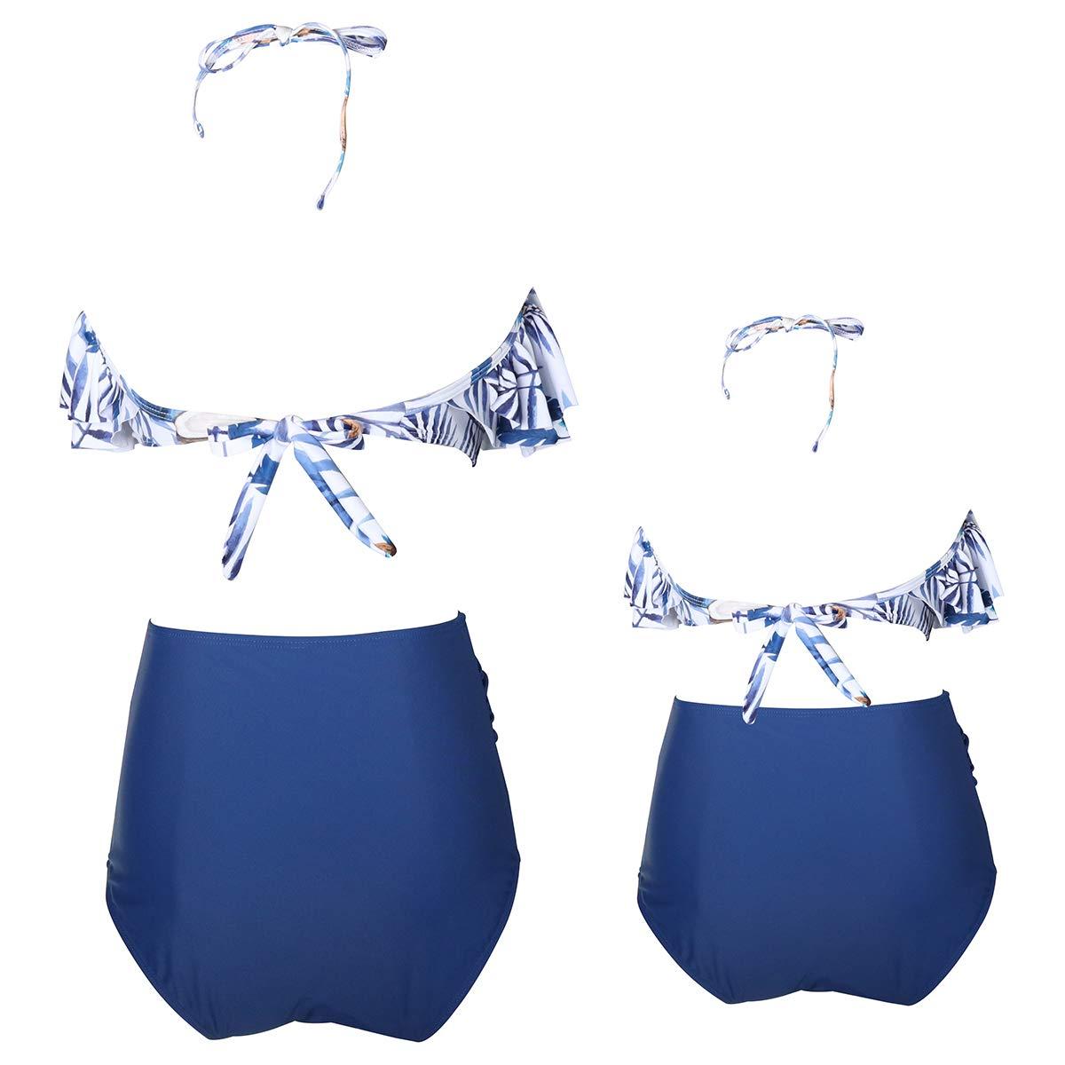 AIDEAONE Matching Swimwear Mother Daughter High Waist Bikini Two Piece Ruffled Swimsuits