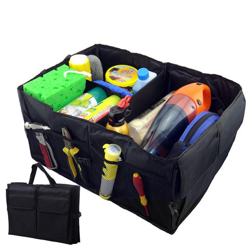MQYH@ Car Trunk Organizer - Trunk Organizer Storage with Straps Durable Collapsible Cargo Storage - Foldable Waterproof Cover 40L ,Black, 1-Pack