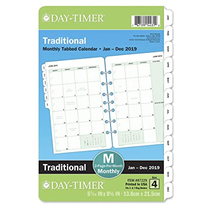 Amazon Com Day Timer 2019 Monthly Planner Refill 5 1 2 X 8 1 2