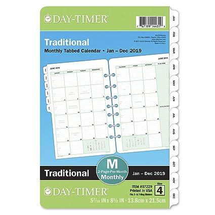 Daytimer Calendar December 2019 Sizes Amazon.: Day Timer 2019 Monthly Planner Refill, 5 1/2