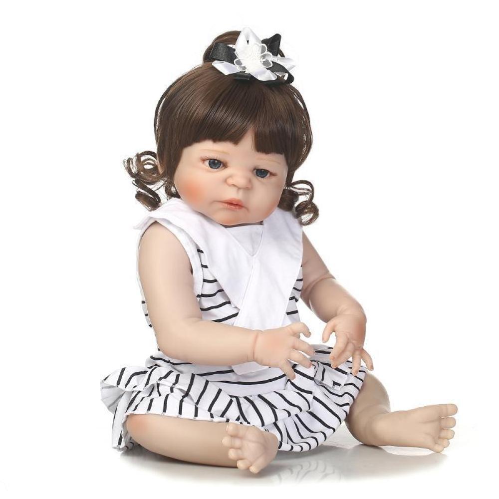 GHCX Silikon-Simulation Reborn Puppe Kann Das Wasser Betreten Um Nettes Babyspielzeugkind-kreatives Geschenk 57CM