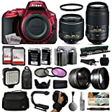Nikon D5500 Red DSLR Digital Camera + 18-55mm VR II + 55-300mm VR Lens + 128GB Memory + 2 Batteries + Charger + LED Video Light + Backpack + Case + Filters + Auxiliary Lenses + $50 Gift Card + More!