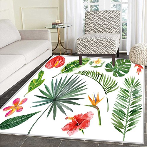 Heliconia Tropical Flower - Plant Area Mat Carpet Diverse Collection of Leaves and Flowers from Tropical Lands Heliconia Philodendron Living Dinning Room and Bedroom Mats 3'x4' Multicolor