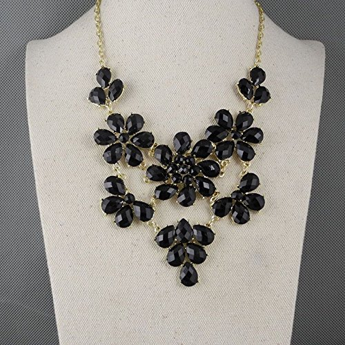 Black Enamel Drop (2 PCS Fashion Jewelry Necklace Long Chain Pendent Sweater Collar Bib Choker Collier Black Faceted Enamel Drops Flower Tassle)