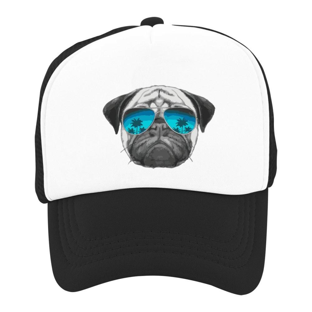 Kids Baseball Cap Pug Wearing Sunglasses Classic Mesh Outdoor Hat