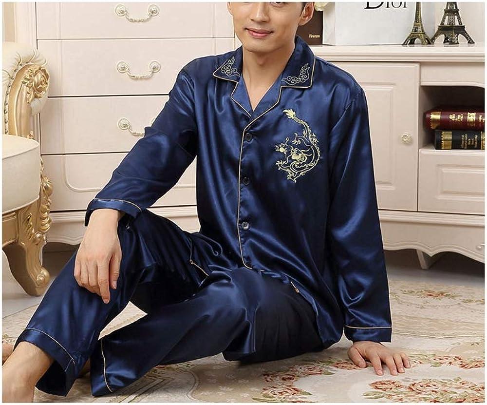 Pajama Homme Mens Silk Shirts Pyjamas Sleepwear Sleepwear Pajamas Silk Pajamas