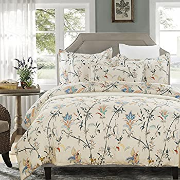 vaulia lightweight microfiber duvet cover set floral pattern design cream king size