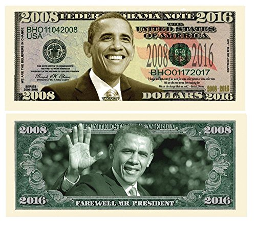 American Art Classics Set of 10 - Barack Obama 2008-2016 Commemorative Dollar Bills - Collectible Novelty Million Dollar Bills - Best Gift for Obama Lovers