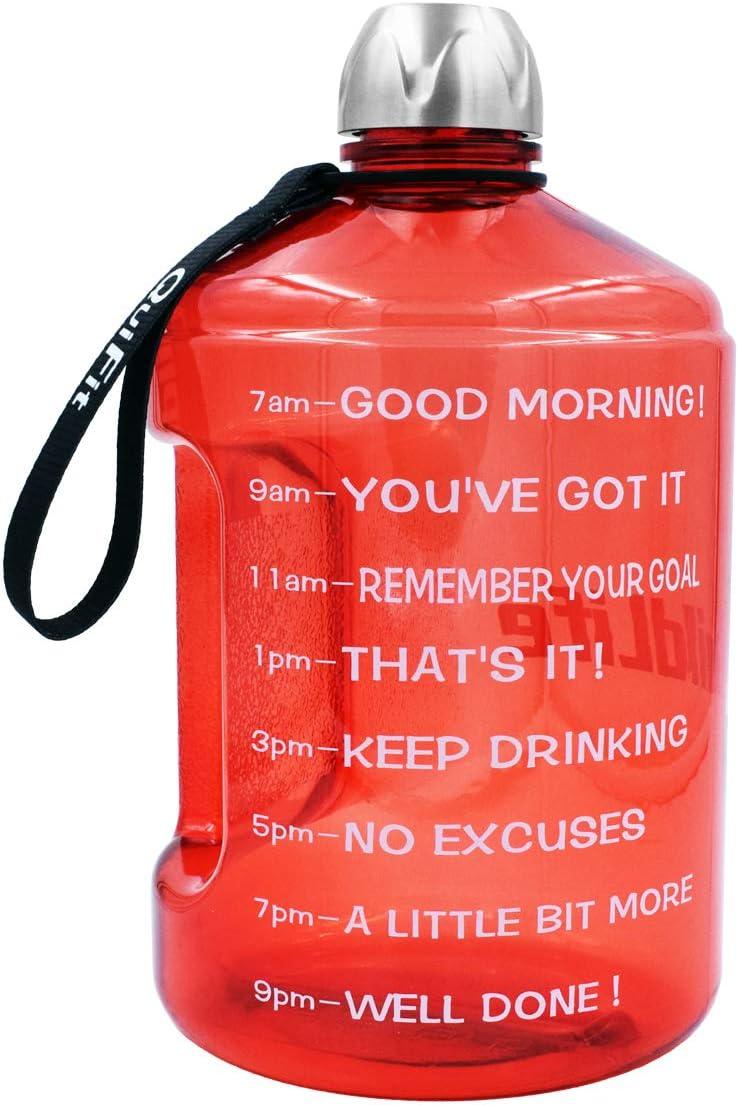 Bebe m/ás Agua Diaria Grande con Marcador de Tiempo 128 onzas de Agua Durante Todo el d/ía BuildLife Botella de Agua de 1 gal/ón para Entrenamiento sin BPA