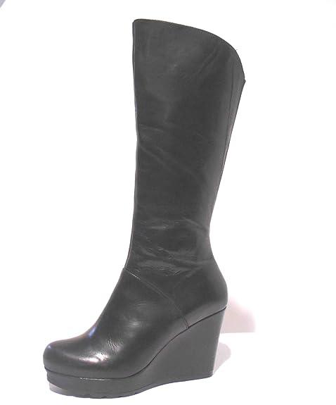 6e7a92418056d4 Cafènoir scarpe donna stivale con zeppa alta in pelle nero con zip N° 40 -