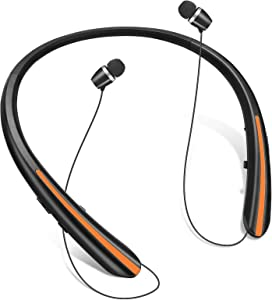 Bluetooth 5.0 Headphones, Wireless Earbuds Retractable Neckband Headset Stereo Sweat-Proof Sports Earphones with Mic Fits iPhone 12/11/X/8, Android and Other Bluetooth Enabled Devices (Black Orange)