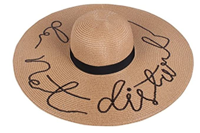 a126fcb2062 Amtal Women Do Not Disturb Embroided Sequins Floppy Beach Hat w ...