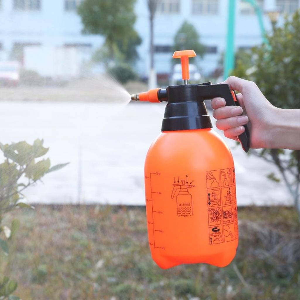 Hunpta@ - Botella de Agua, 2 L, pulverizador neumático, automático, Naranja, Bote de riego
