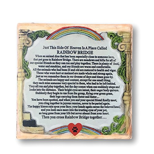 BANBERRY DESIGNS Pet Memorial Plaque - The Rainbow Bridge Story - Desktop Keepsake Plaque for The Loss of a Dog or Cat