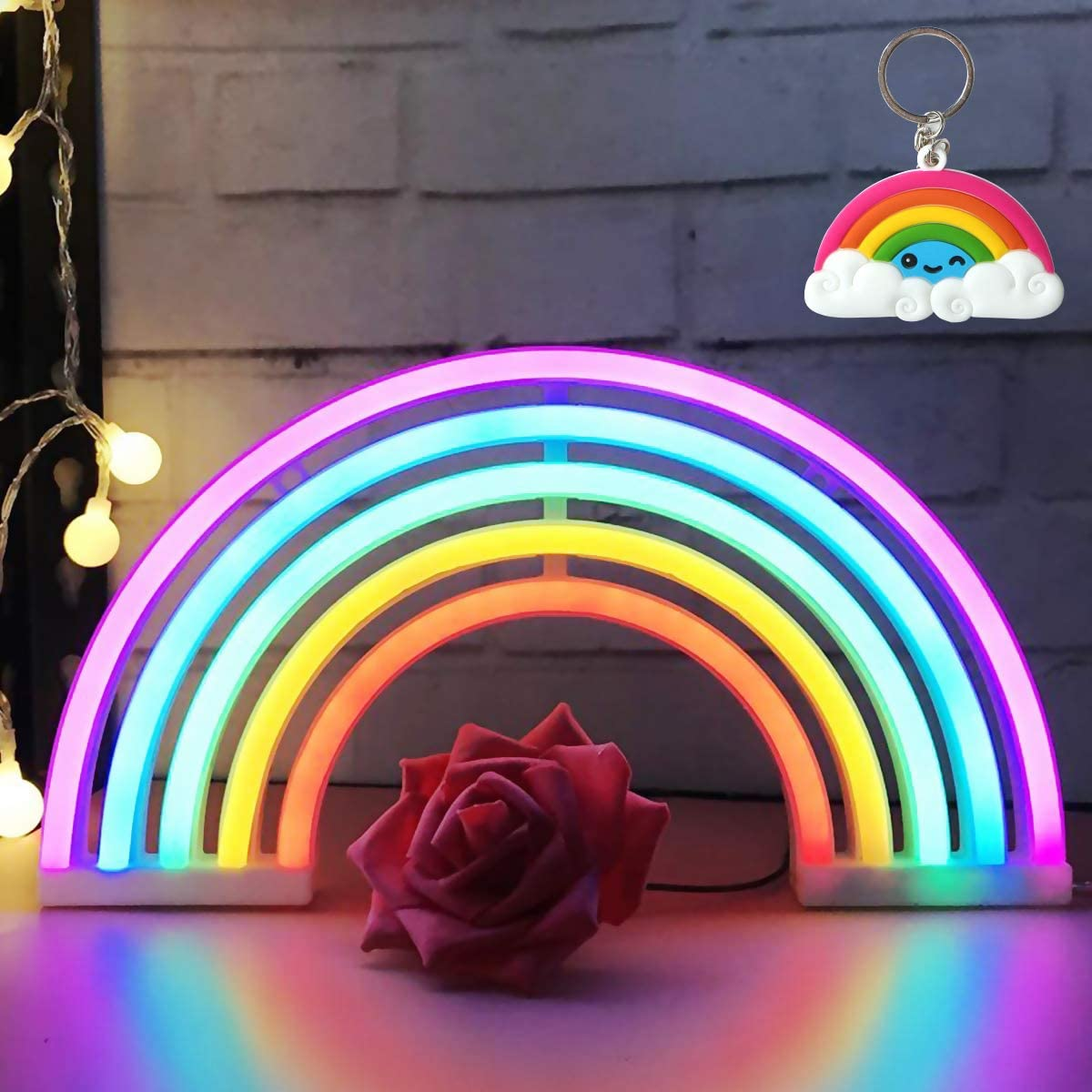 AIZESI Rainbow Neon Light Rainbow Neon Sign Wall Light Battery Or USB Operated Neon Light Rainbow