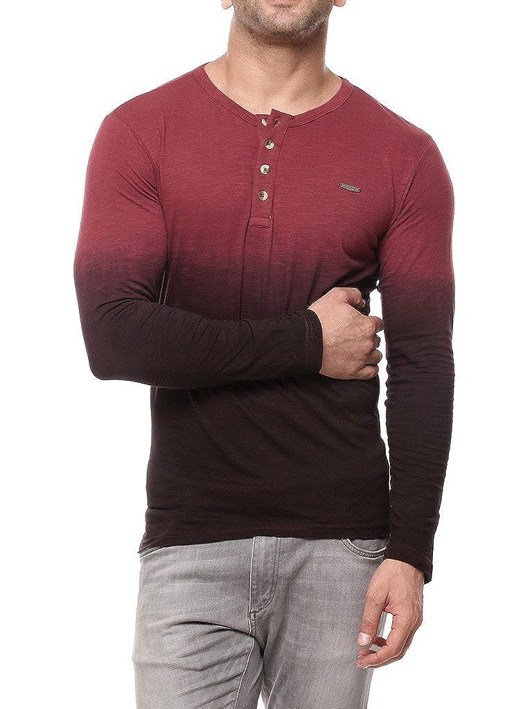 58c96d927 GRITSTONES Onion Pink Full Sleeve Henley Round Neck T Shirt  GSFSHNLYOMB1123ONIPNK