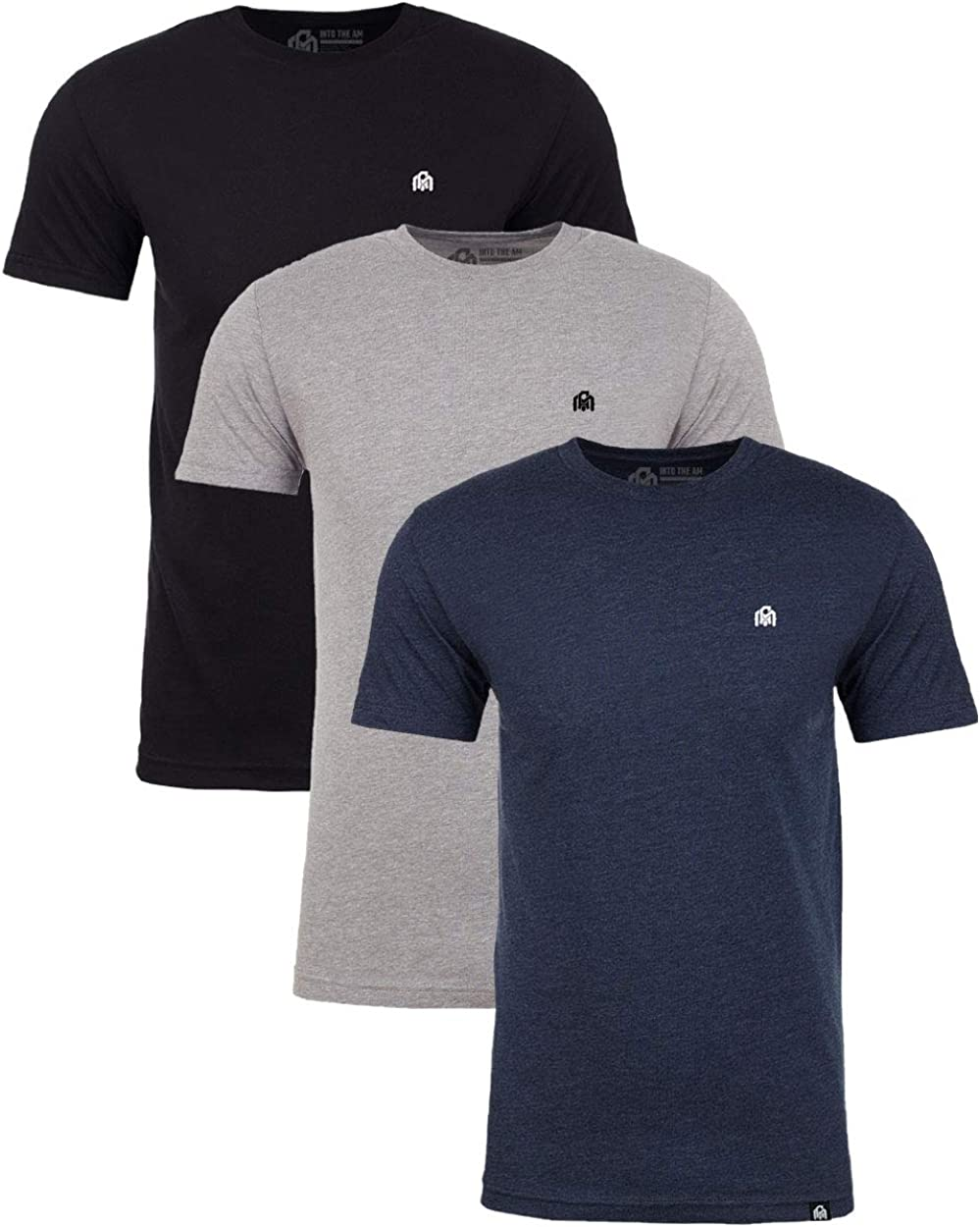 INTO THE AM Men's Basic Crew Neck Tees - Soft Modern Fitted Logo T-Shirts