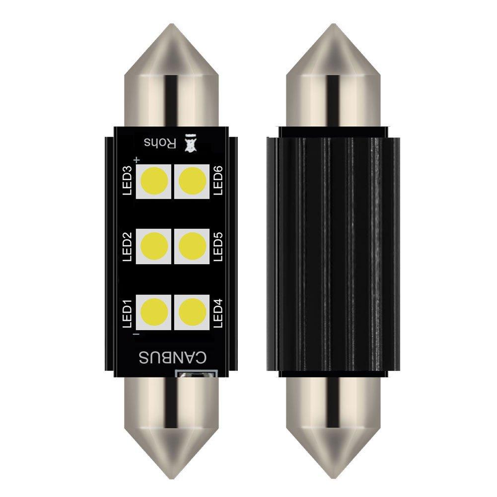 2pcs lampada a siluro FESTOON C5W 39MM LED bianco puro Canbus SMD Luce targa DC 12V (39MM) Gofeng