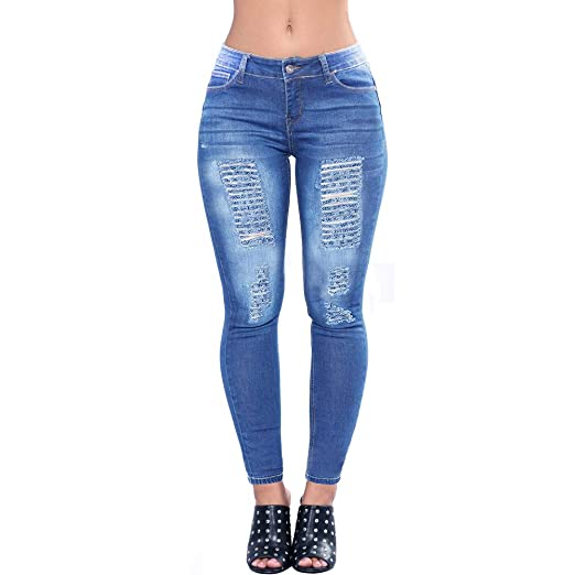 7a7b245bf2b77c VICVIK Women's Distressed Ripped Butt Lifting Skinny Jeans Stretchy Cut Up  Casual Denim Pants at Amazon Women's Jeans store