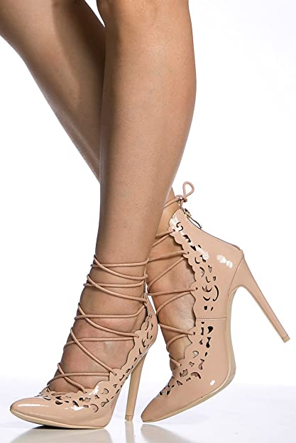 1c871c562 Amazon.com | Cicihot Nude Faux Patent Leather Lace Up Pointed Toe Heels |  Sandals