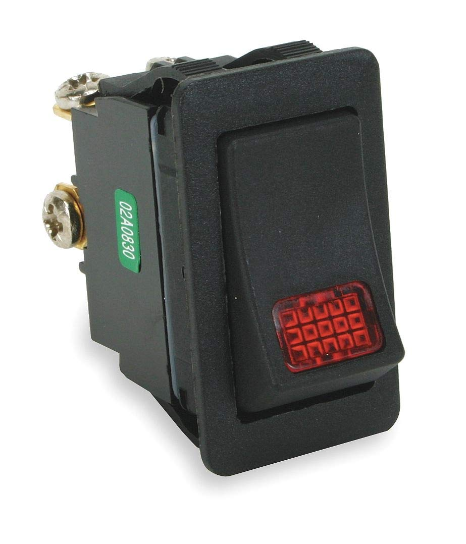 Power First Lighted Rocker Switch, Contact Form: SPST, Number of Connections: 3, Terminals: Screw - 2VLT5 ( Pack of 2 ) by Power First