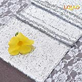 LQIAO Glitter 18PCS 13x108in-Sequin Table Runner-Sparkly Wedding Party Dining Kitchen Table Linens DIY, Silver