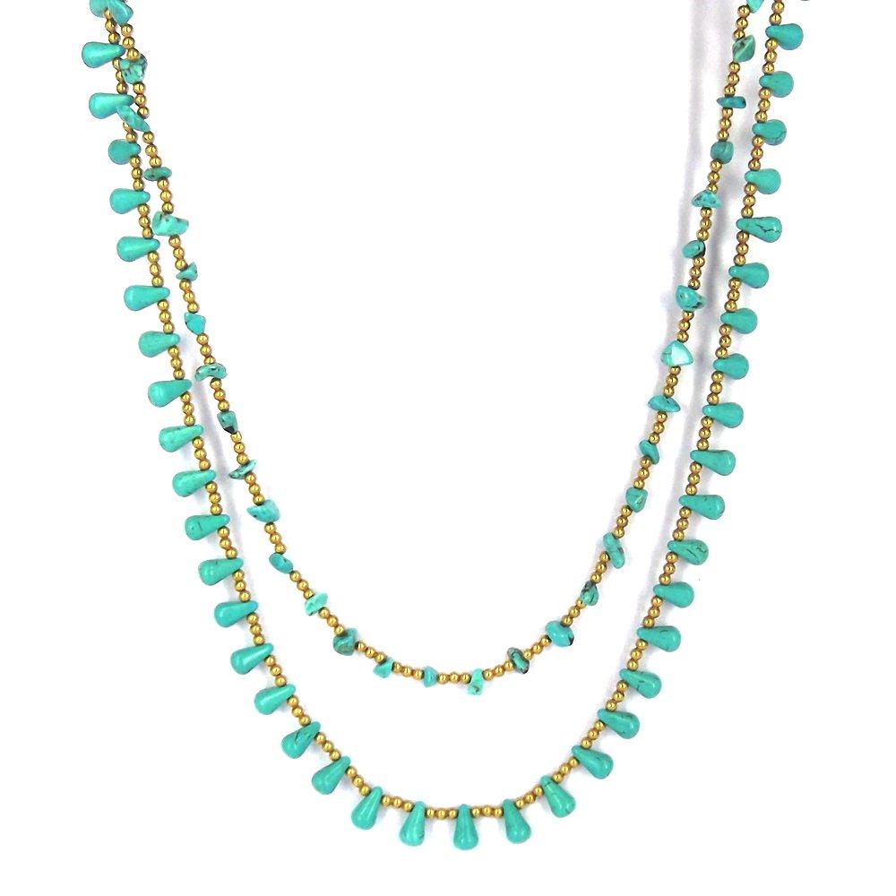 AeraVida Harmonius Cascades Simulated Turquoise Stones Statement Necklace