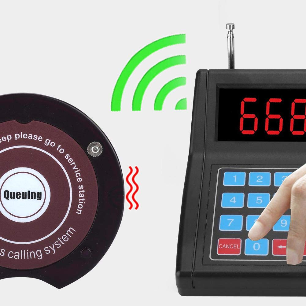 EU Stecker Bewinner Wireless Warteschlangen Anrufsystem Tragbares Drahtloses Rufsystem mit 20er Achterbahn Pager Restaurant Aufruf Pager System Wireless Guest Paging Warteschlangensystem