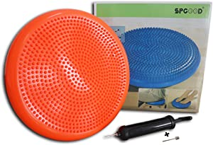 N/K Wobble Cushion - Stability Balance Disc - Fitness Core Trainer Wiggle Pad for Home or Office Desk Chair & Kids Workout Equipment, Sensory Wiggle Seat with Exercise Guide
