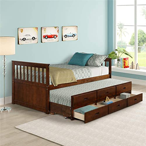 Solid Wood Mate s Captain s Bed Twin with Storage Drawers and Trundle Walnut