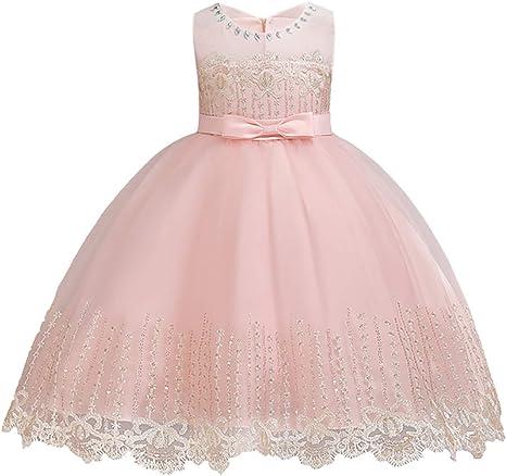 Amazon.com: Vestido de boda con bordado para niñas de 1 a 14 ...