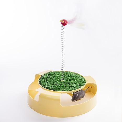 Estación de juego para gatos con ratón rotativa y juguete resorte