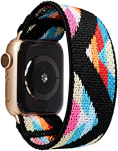 Tefeca Chevron Pattern Elastic Compatible/Replacement Band for Apple Watch 38mm/40mm (Gold Adapters, XS fits Wrist Size : 5.5-6.0 inch)