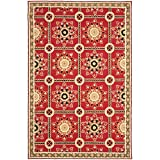 Safavieh Easy to Care Collection EZC711A Hand-Hooked Red and Natural Area Rug (2′ x 3′)