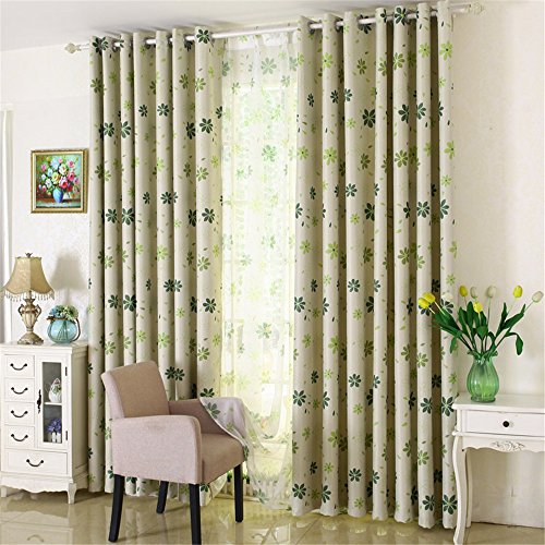 LIYAXUN Seven Leaf Grass Black Silk Shade Cloth Thermal Insulated Blackout Grommet Top Multi Sizes Energy-saving Environmental Protection Customed Curtains/Drapes 72
